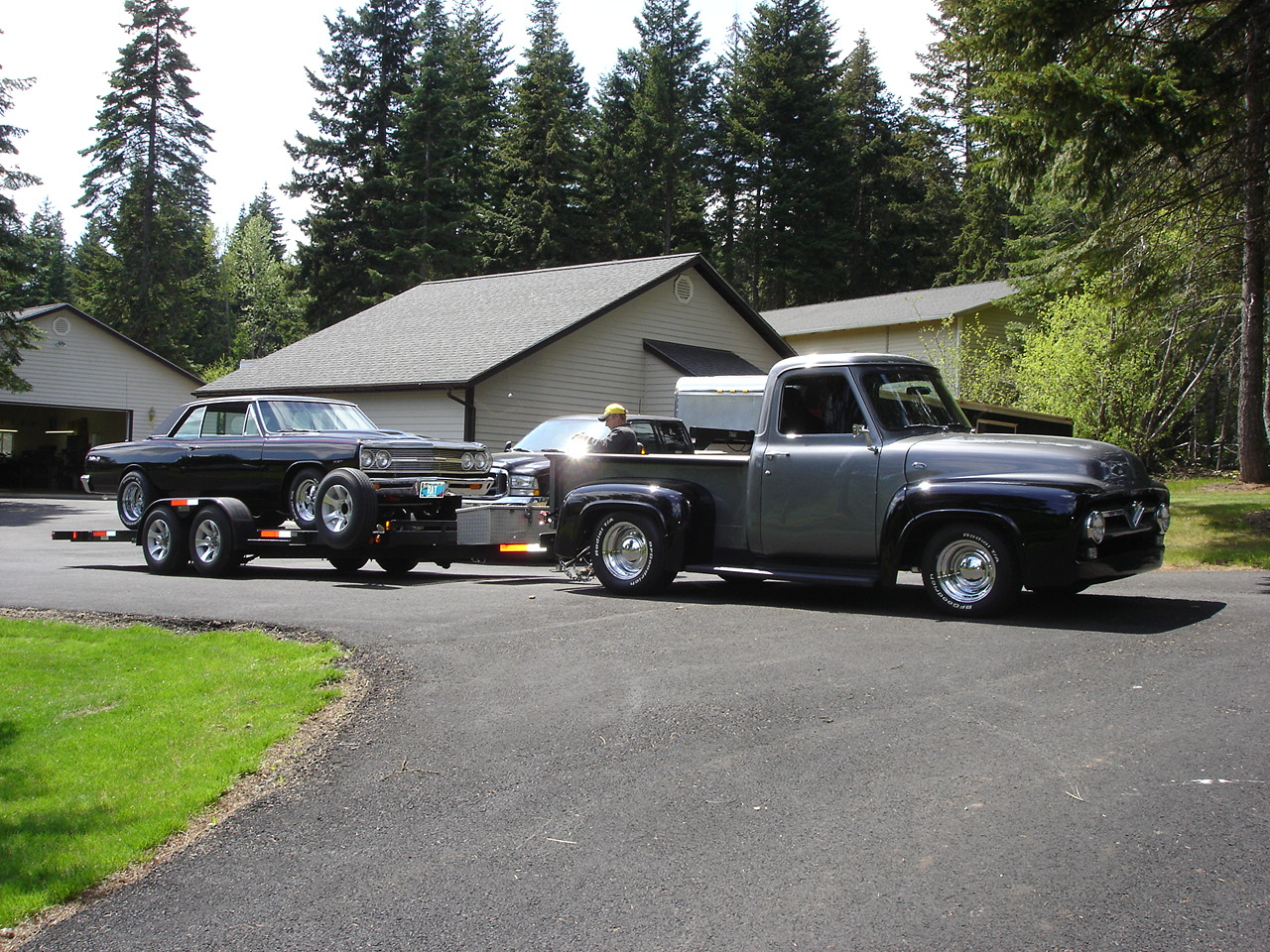 55 Ford Pickup 1955 F100 Tubbed The License Plate On This Reads 4 Towin We Use Truck To Take Other Hot Rods And A Highly Customized Harley Davidson Motorcycle Outdoor